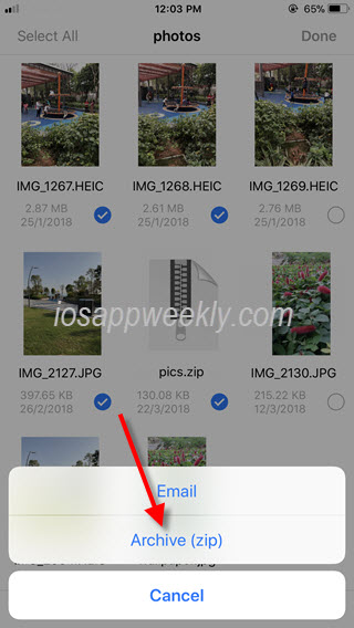 archive zip files on iphone using file explorer app