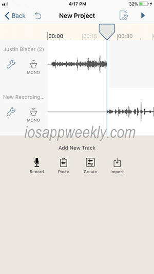 merge music or audio recordings on iphone using hokusai audio editor