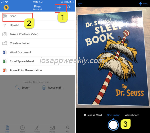 Scan documents, business cards, whiteboard using OneDrive on iPhone
