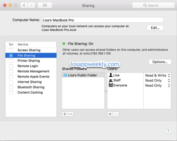 turn on file sharing on Mac, macbook