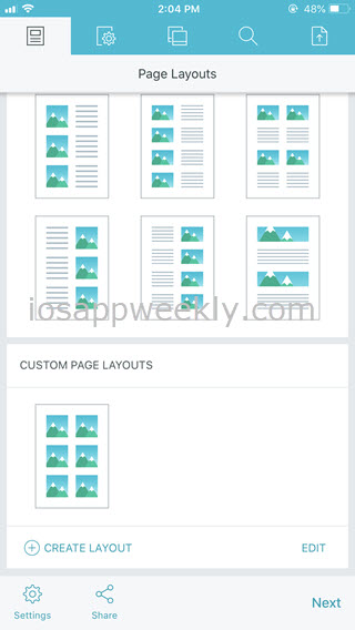 custom page layouts in pdf photos iphone