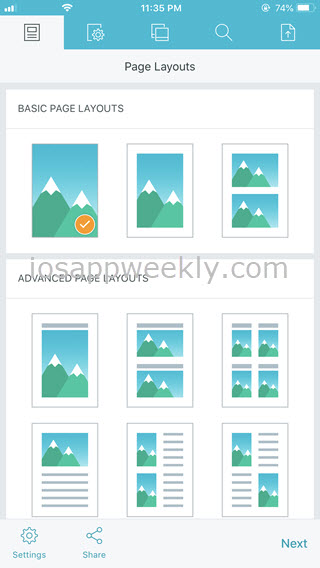 page layouts - pdf photos app for iphone