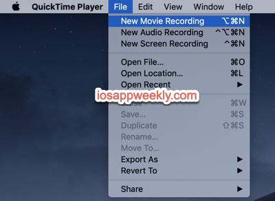 quicktime player new movie recording on mac