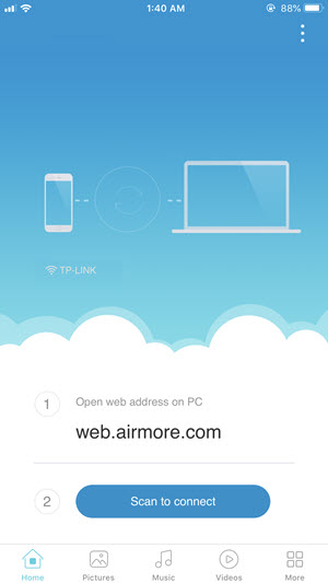 AirMore for iphone - home
