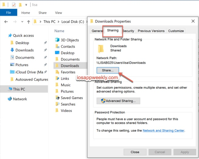 Windows 10 share files, folders over network from file explorer