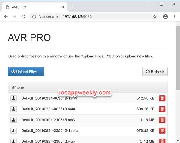 Awesome Voice Recorder(AVR) wifi file transfer via desktop web browser