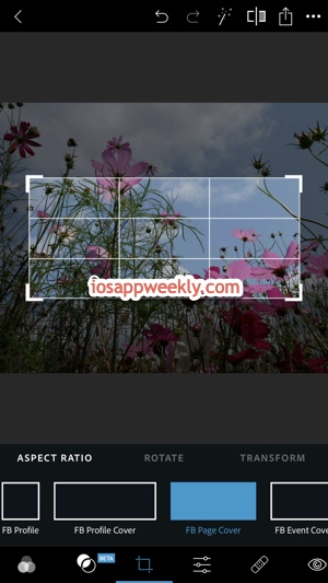 create facebook page cover photo with ps express on iphone