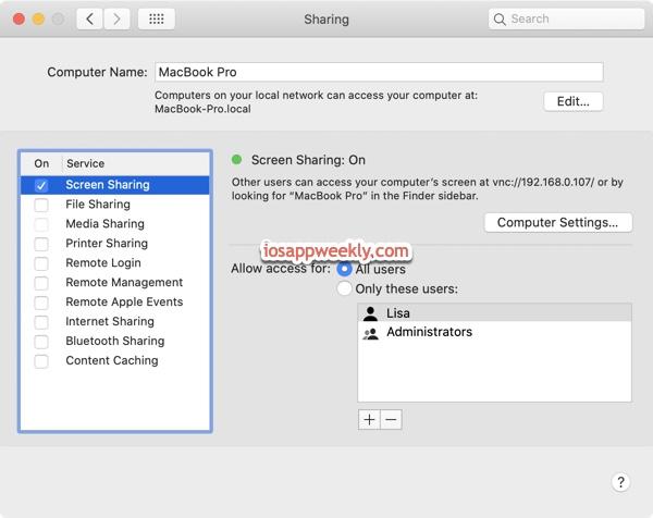 turn on screen sharing on Mac