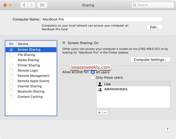 turn on screen sharing on Mac
