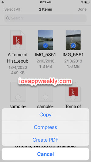 combine multiple photos images into one pdf using files app on iphone