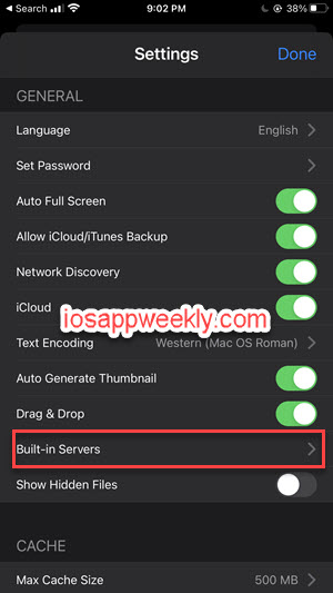 fe file explorer settings built-in servers iphone