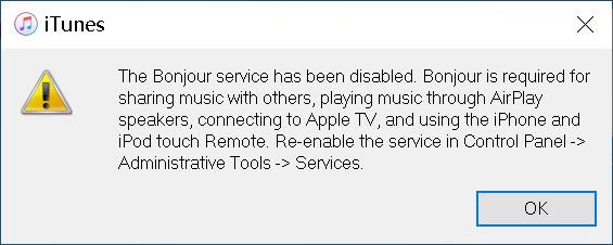 iTunes error Bonjour Service Disabled on PC