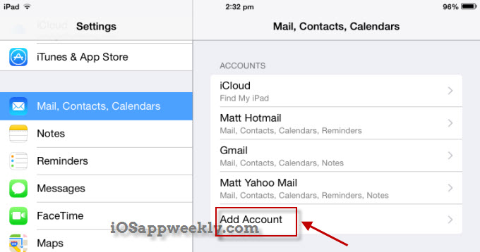 add contacts account from settings on ipad