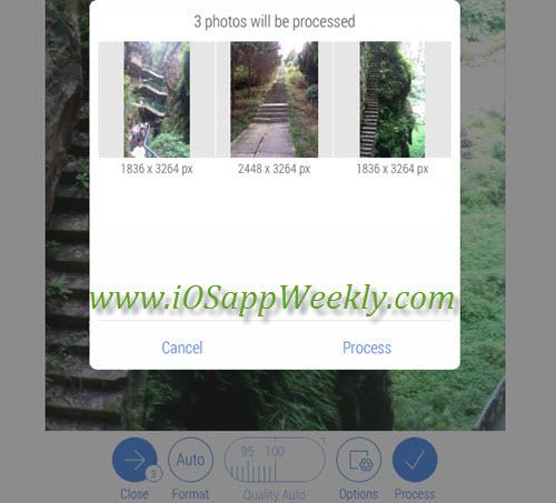 batch process photos using crop size app for ios