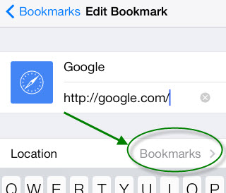change bookmark location in Safari on iphone