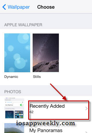 choose wallpaper from camera roll photos on iphone