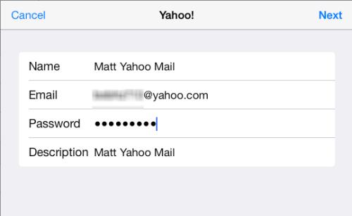 input yahoo mail credentials on ipad