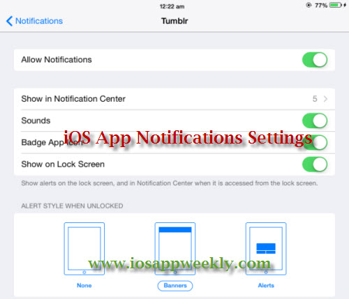ios app notifications settings