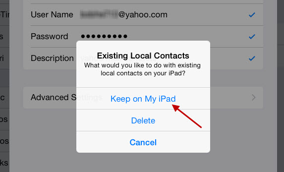 keep existing local contacts on ipad