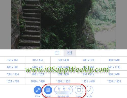 resize photos using crop size app on iPhone iPad