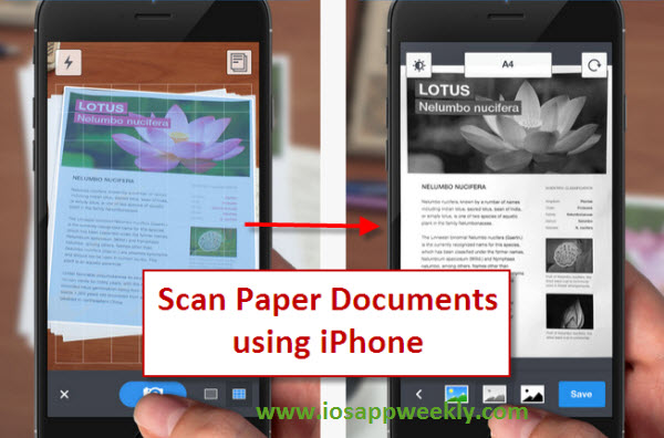 scan paper documents to PDF using iphone ipad