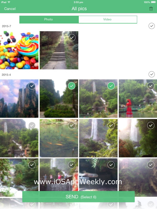 select photos and videos on ipad to send with swift transfer app