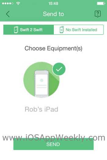 send photos videos from iphone to ipad over wi-fi using swift transfer