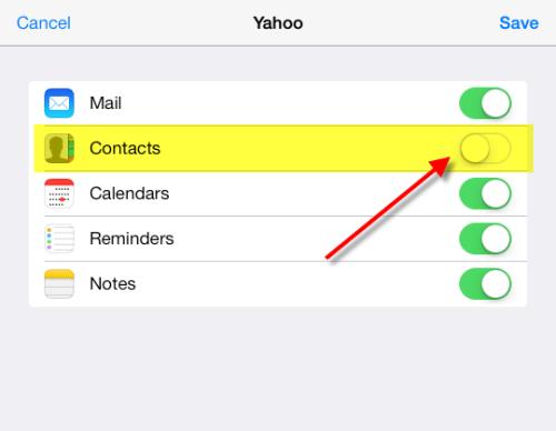 sync yahoo mail contacts to ipad