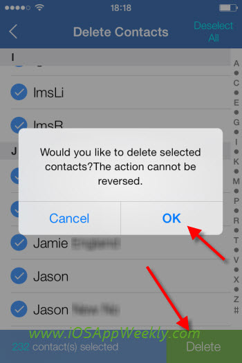 select and delete all contacts on iphone at once using wesync app