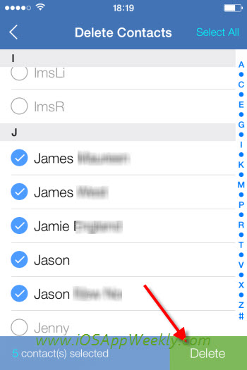select and batch delete multiple contacts on iphone at once using wesync app