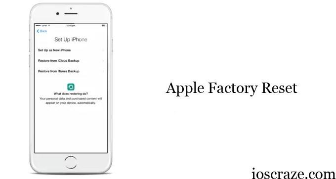 Apple factory reset