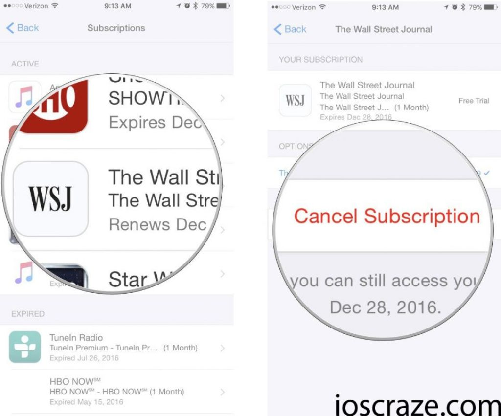 Cancel iOS app subscriptions