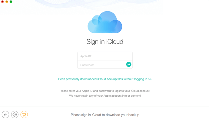 Enter Apple ID and password to log into iCloud account.