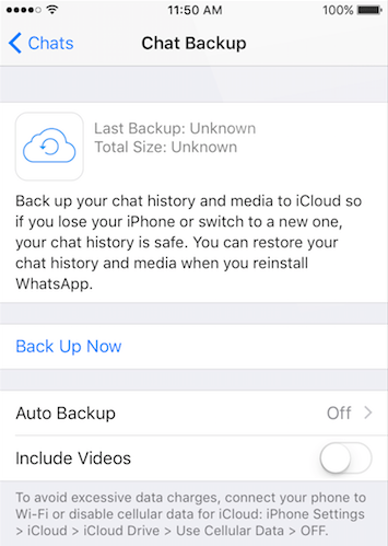 Backup WhatsApp on iPhone