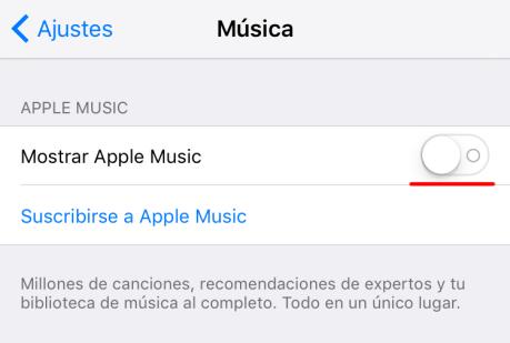 Cómo ocultar Apple Music en el iPhone, en el iPad y en iTunes