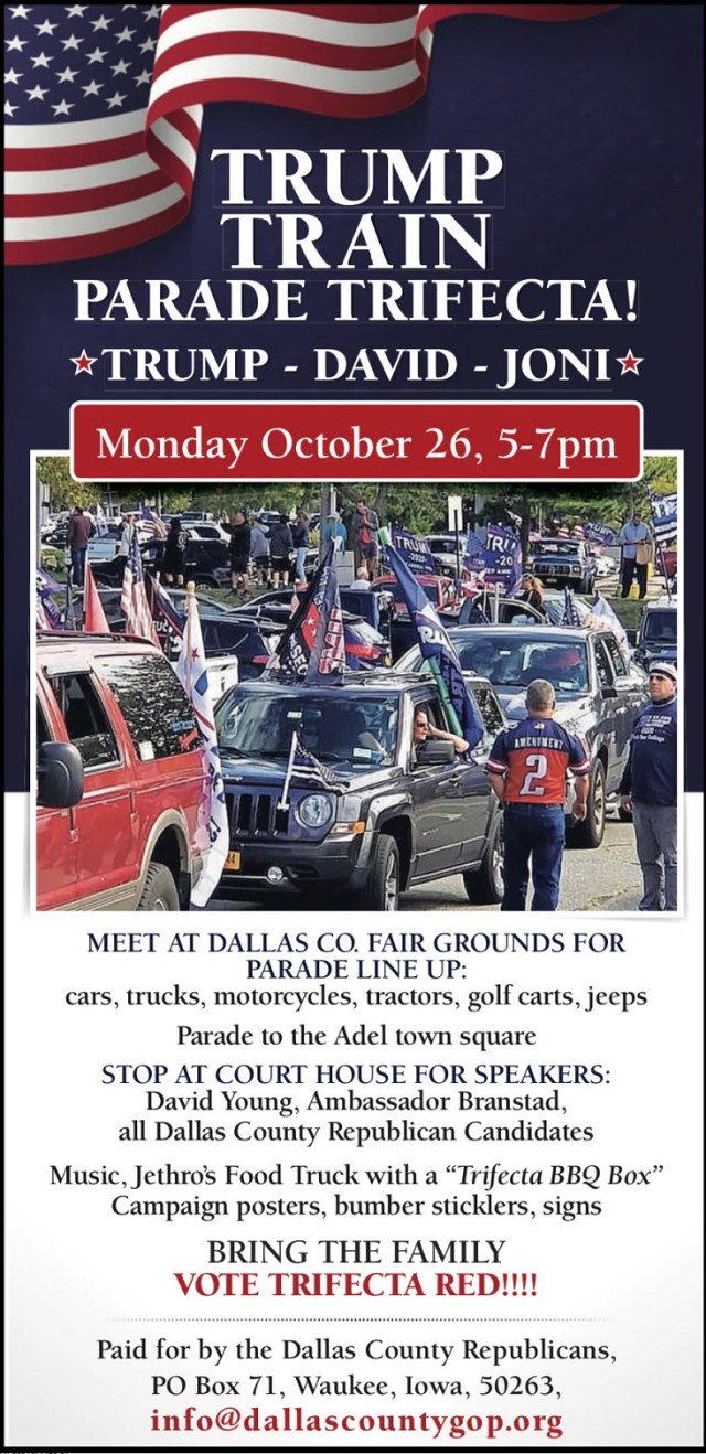 Trump Train Parade Trifecta to roll in Adel October 26 2