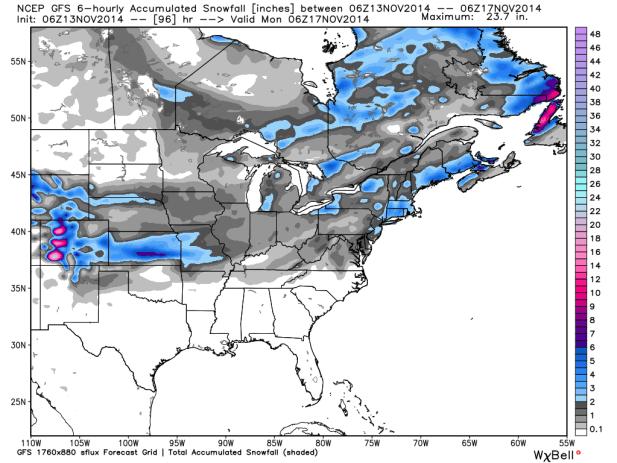 GFS 06z Snowfall Totals