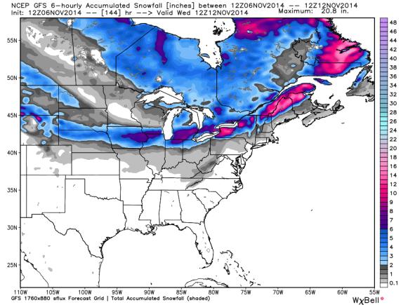 12z GFS Snowfall