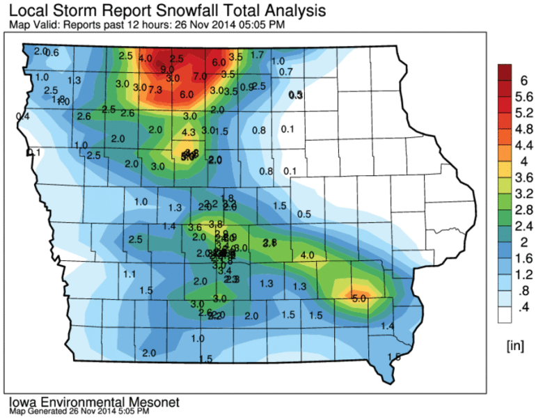 Iowa Snowfall Reports