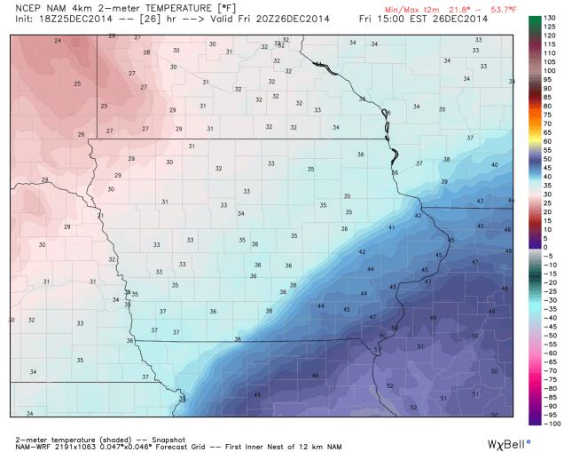 Iowa High Temperatures 12/26