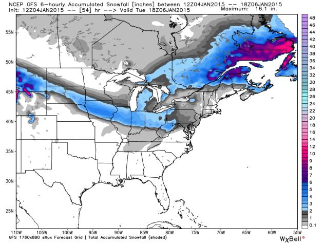GFS Snowfall Forecast