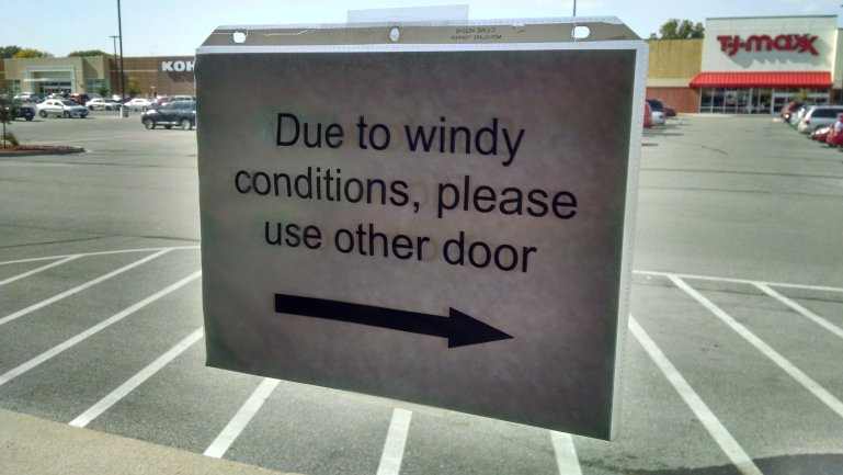 Iowa Windy Conditions Sign