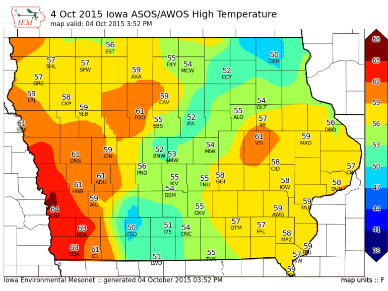 Iowa High Temperatures Sunday October 4th