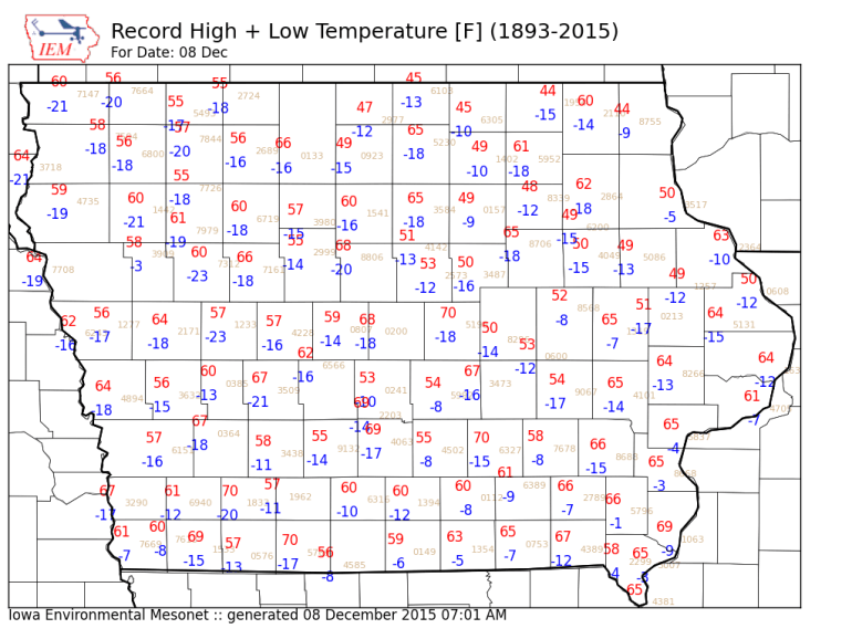 Iowa Record Highs Tuesday December 8th 2015