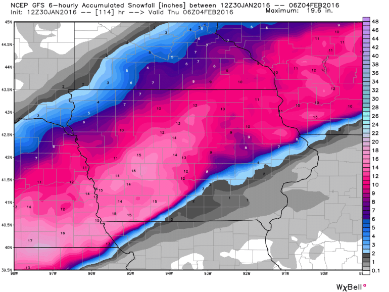 GFS Iowa Snowfall Forecast