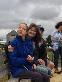 Mother and daughter on the hayride.
