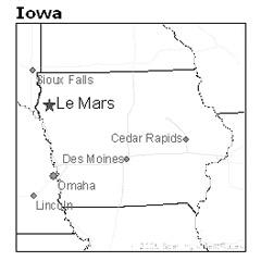 location of Le Mars, Iowa