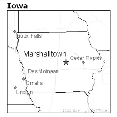 location of Marshalltown, Iowa