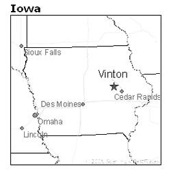 location of Vinton, Iowa