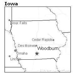 location of Woodburn, Iowa